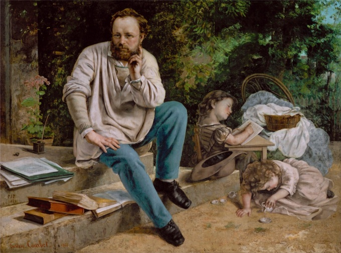 Pierre Joseph Proudhon (1809-65) and his children in 1853, 1865 (oil on canvas) (see 99577 for detail)